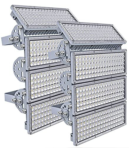 800W LED Flood Light Outdoor, Kekeou 2 Pack 400W Stadium Light, 4 Adjustable Modules with Wider Lighting Angle, 2000W Equivalent 80000LM, 6500K, IP67 Waterproof for Stadium Lawn