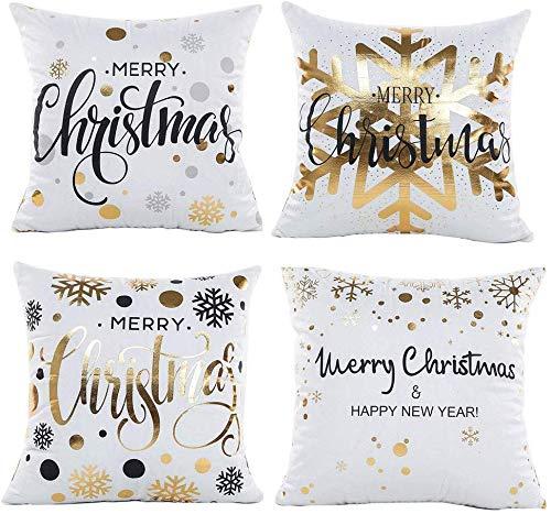 Gspirit 4 Stück Kissenbezug Frohe Weihnachten Dekorative Kissenhülle Winter Weiß Schneeflocke Goldprägung Muster Baumwolle Werfen Sie Kissenbezüge 45x45 cm