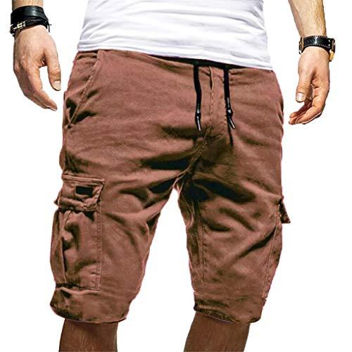 Pants Fitness Shorts Herren Outdoor Taschen Strand Arbeit Hosen Cargo Pant Männer Sommer Freizeit Sport Shorts Kurze Hose lose Tarnung Patchwork Overall Shorts Hosen (Kaffee(5), S)