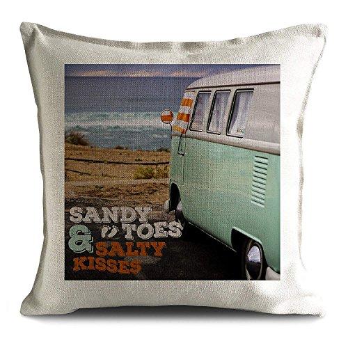 Yohoba Jirafa y Personalizado VW Vintage Retro Camper Van Sandy Toes Salty Kisses Playa Cita Cojín Funda de Almohada 45,7 x 45,7 cm