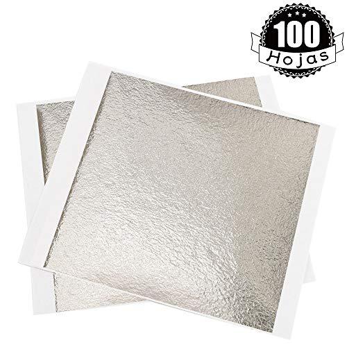 KINNO Pan de Oro de Imitación para Artesanía Manualidades Decoración de Muebles 100hojas 13x13.5cm/5.11''x5.31''(plata antigua)