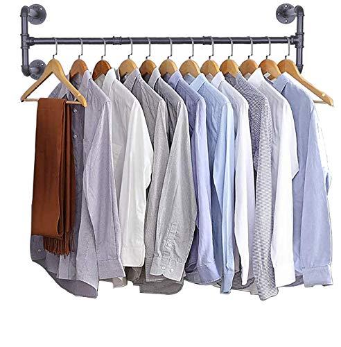 Tendedero industrial para ropa de pared, resistente, montado en la pared, de hierro negro, ahorra espacio, multiusos, barra para colgar...