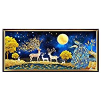 DIY 5dダイヤモンド塗装キット、の大型刺繡クロスステッチクリスタルラインストーンダイヤモンド塗装、大人と子供のためのモザイク制作、家の壁の装飾アート鹿,180*70cm