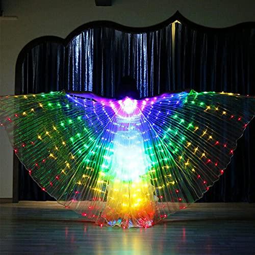 POHOVE Alas flexibles de luz LED para disfraz de cosplay, alas de baile con ángulo de apertura de 360 grados, varillas telescópicas para Halloween y escenarios, color blanco/multicolor
