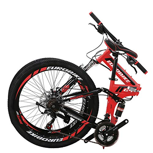 "26"" Full Suspension Mountain Bike 21 Speed Folding Bicycle Men or Women MTB (Red)"
