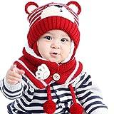 OUTEYE Gorro cálido para Invierno para niños, Gorro con Orejeras para bebé y Gorro de Punto para bebé con Corte de Bufanda