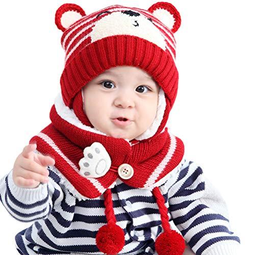 Teyiwei - Gorro de punto para bebé o niña, diseño de orejas animadas, gorro con bufanda para niñas, niños y niñas, color rojo