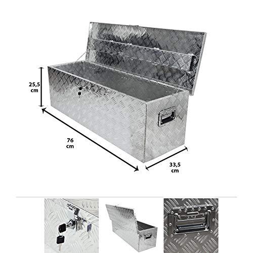 Grafner Aluminium Box 65 Liter aus massivem Riffel-Blech, mit Schloss & 2 Schlüssel und Griffen, 760 x 335 x 255 mm, Transportbox Transportkiste Munitionskiste Werkzeug Alu Kiste