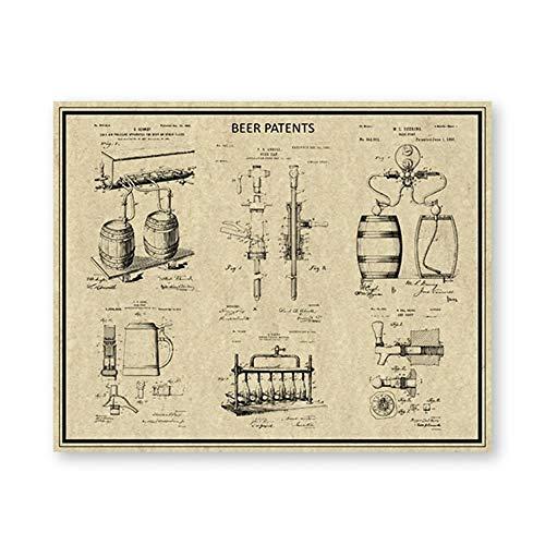 ETBGYKOU Impresiones de Patentes Cerveza Artesanal Taza Stein elaboración de Cerveza Carteles...