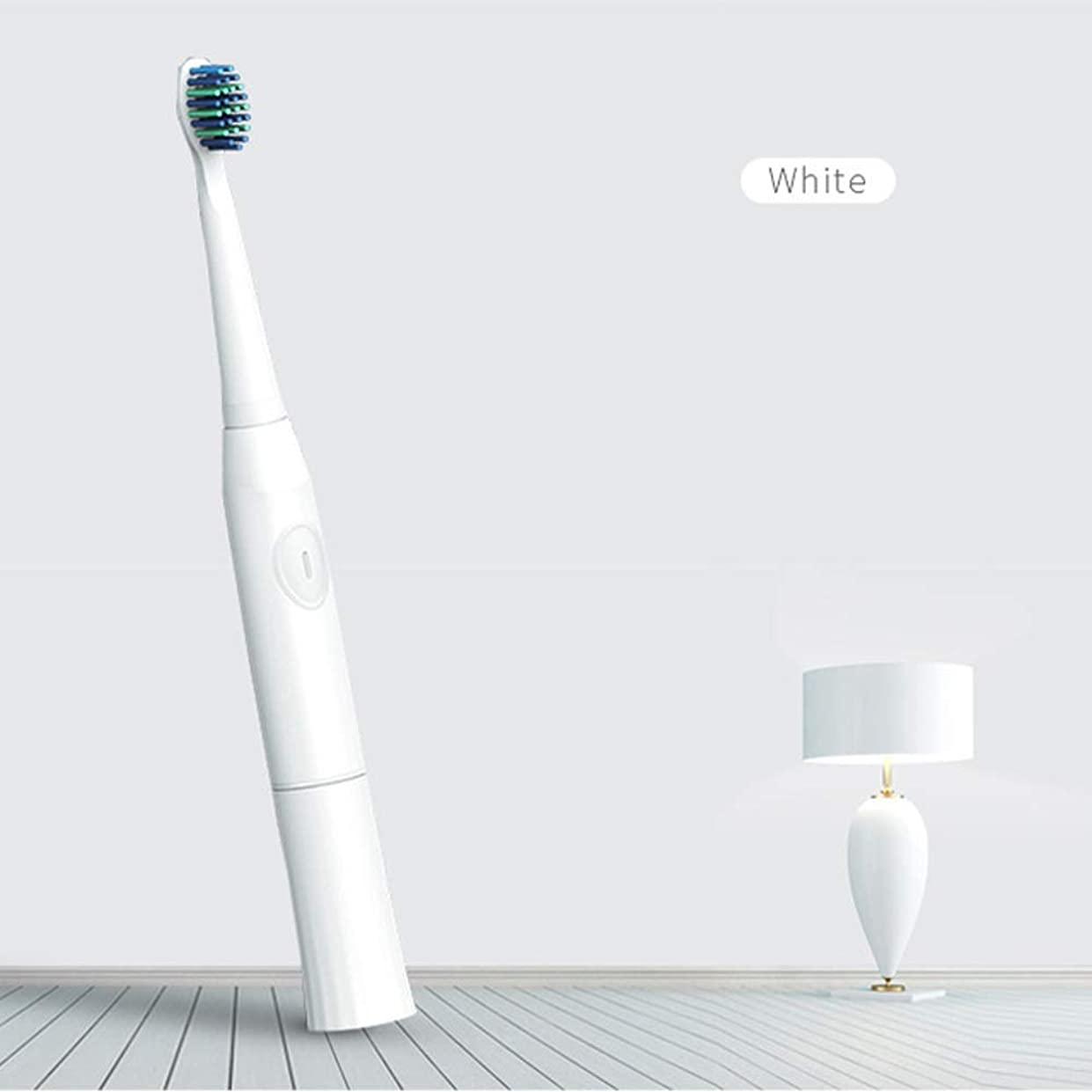 哀特に酸っぱいBeTyd 2つの取り替えのブラシヘッド電池が付いている電動歯ブラシ口頭衛生ブラシの音波歯ブラシ (Color : White)