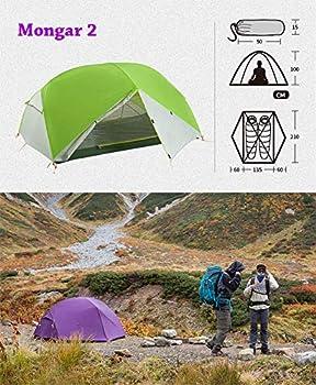 Mongar 2 Personne 3 Saisons Camping Tente Ultra Léger Tente Imperméable 20D en Silicone pour Randonnée Alpinisme(20D Violet,2 Personnes)