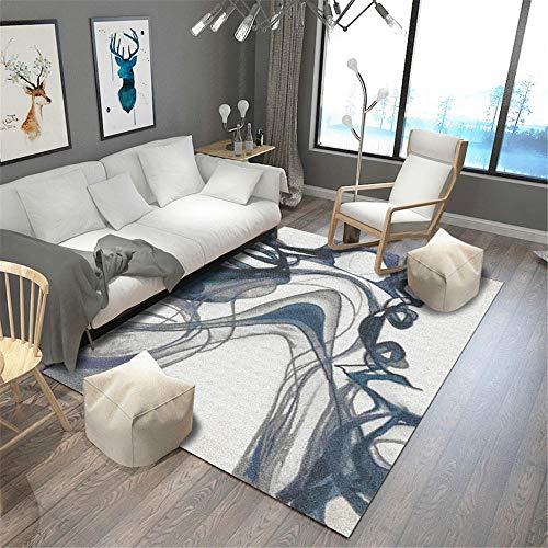 Kunsen alfombras de Salon alfombras pie de Cama Alfombra de la Sala de Estar Gris Azul Arte Moderno no Cae alfombras Antideslizantes 50X80CM 1ft 7.7' X2ft 7.5'
