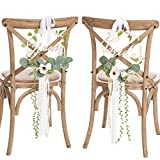 Ling's Moment Mr Mrs Sign Chair Decor for Wedding Chair Signs for Bride and Groom Floral Wedding Decorations Rustic Boho