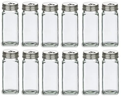 Nakpunar 12 pcs 4 Long-awaited oz French Limited time for free shipping Jars Glass with Spice Square Stainle