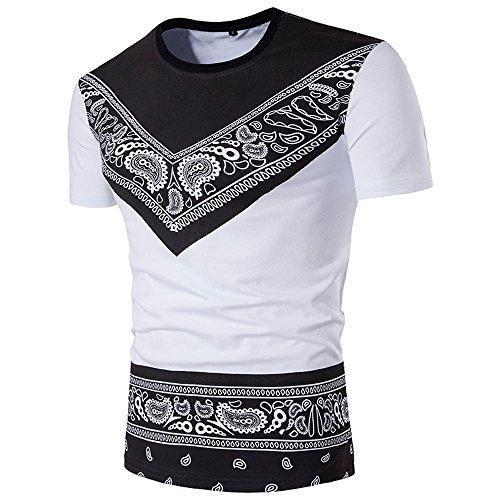 BURFLY KurzarmT-Shirt Herren, Herren Sommer Casual Fashion African Print O Hals Pullover Kurzarm T-Shirt Top Persönlichkeit Ethnic Print Kurzarm T-Shirt (M, Weiß)