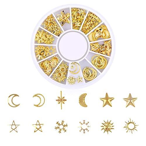 Neue Charm Gold Full Set Rivet Nails Diamanten Glanz Sterne und Mond Dekoration Nagel Schmuck (D) Langlebig und Praktisch