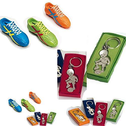 Momparler1870 Pack Regalo Juvenil - 12 llaveros niño Futbolista con Caja Regalo y Original Hucha Bota