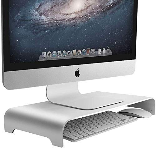 INDIAN DECOR 29165 Monitor Stand for Desktop, Monitor Stand Metal Desktop Stand Base up to 27 inches Screens for PC, Laptop, with Storage Space for Keyboard (White) Made in India!!