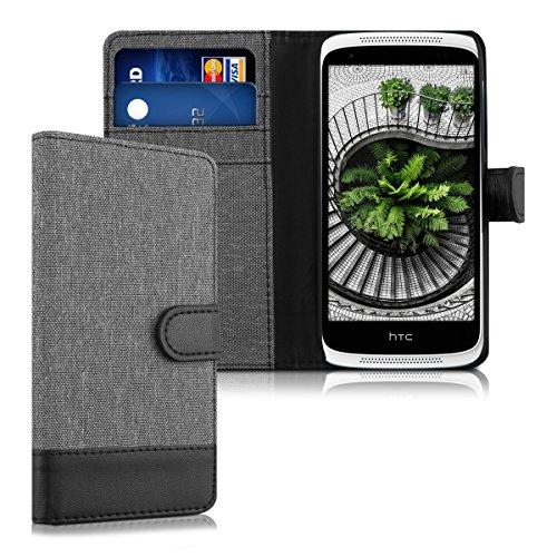 kwmobile HTC Desire 526G Hülle - Kunstleder Wallet Case für HTC Desire 526G mit Kartenfächern & Stand - Grau Schwarz