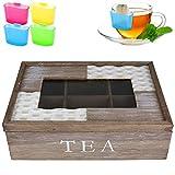 Teebox 6 Fächer Rattan inkl. Teebeutel-Halter Teekiste Teekasten Teebeutelhalter Teedose