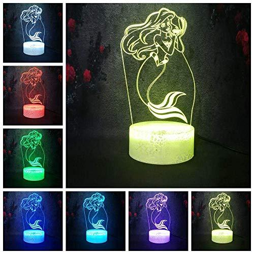 3D Linterna mágica Led Noche Anime Cartoon Sirena Princesa USB Multicolor Intermitente Bebé Niños Aprendizaje Lámpara de Escritorio Decoración del Hogar Regalo de la Niña 16 Colores