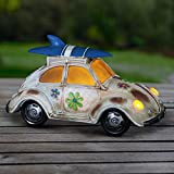 Exhart Retro Beetle Car Statue w/Solar LED Accent Lights - Solar-Powered Garden Statue of a Mini Vintage Bug Car in Hand-Painted Colors for a Nostalgic Home Outdoor Decorations, 7 Inches Tall