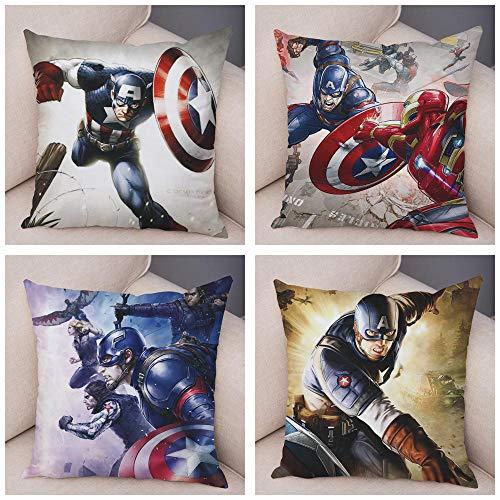ZHAOCC Funda de cojín Conjunto de 4 Juegos de Funda de Almohada Hug de Lino Cartoon Surven Avengers Captain Pillow Set Super Hero Pad Cover Funda de cojín Decorativo 45X45Cm