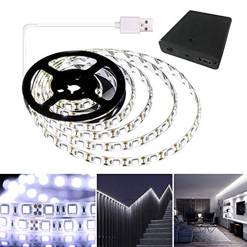 QIWOO Battery Powered LED Strip Lights, Cool White USB LED Light Strip Kit with 6.6FT(2M),SMD5050,Super Bright LED Tape Light