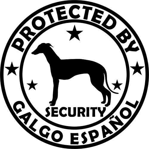 Holashirts Mallorca Hunde-Aufkleber Galgo Windhund Jagdhund ESPAÑOL Security Folienaufkleber Car-Sticker Ø150 mm (Schwarz)