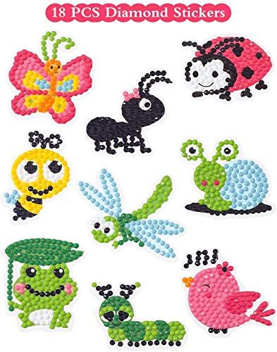Sinceroduct 5D DIY ダイヤモンドペインティングクラフトキット 子供用 18ピース カートゥーンステッカー ダイヤモンドを貼る絵の具 かわいい昆虫 動物