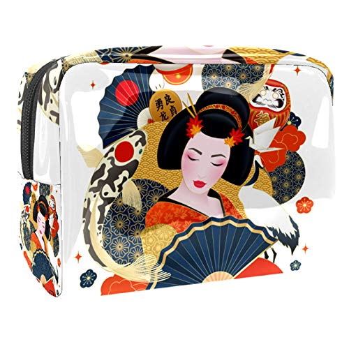Portable Makeup Bag with Zipper Travel Toiletry Bag for Women Handy Storage Cosmetic Pouch Japanese Geisha Colorful Carps Lucky Cat