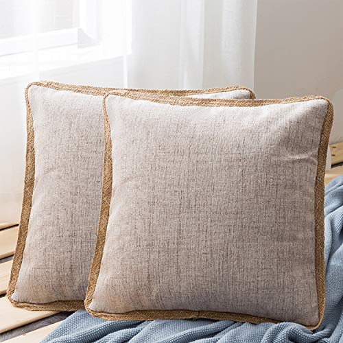 Lurowo 2 Pcs Cushion Cover 18 x 18in/45 x 45cm, Soft Square Pillow Cover with Hidden Zipper, Decorative Throw Pillowcase For Livingroom Sofa Bedroom Couch Car Office (Type2, beige)