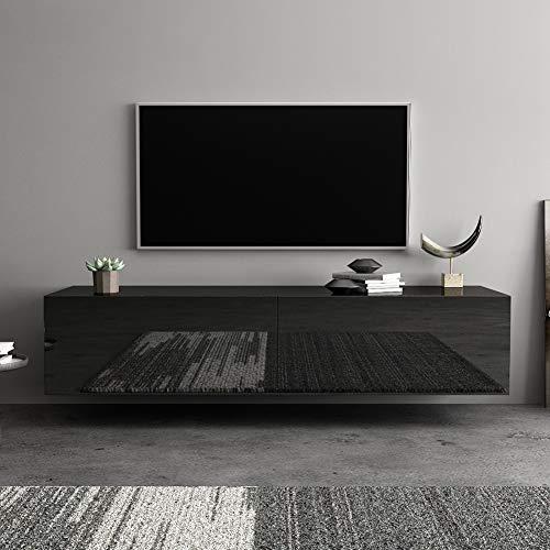 EBTOOLS Mobile TV Bianco/Nero Lucido Sospeso 140cm, Mobile TV Moderno Mensola per TV e Video con Anta Basculante, MDF 140 x 30 x 40cm (Nero)