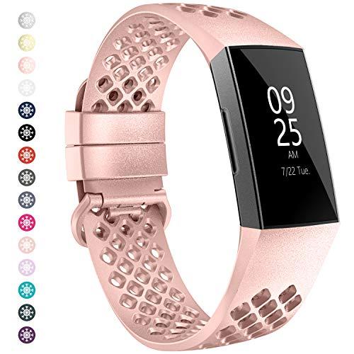WASPO für Fitbit Charge 4 Armband/Fitbit Charge 3 Armband,Atmungsaktiv silikonarmband mit Luftlöchern Kompatibel mit Fitbit Charge 3 & Fitbit Charge 4 (Rose Gold,S)