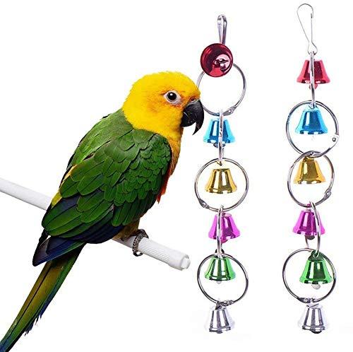 El Columpio de Aves Campanas del Metal del Anillo de Aves Chew Juguetes for Loros Puente Colgante al Azar Pequeño círculo, Color: Círculo Aleatorio Grande JXNB (Color : Random-Big Circle)