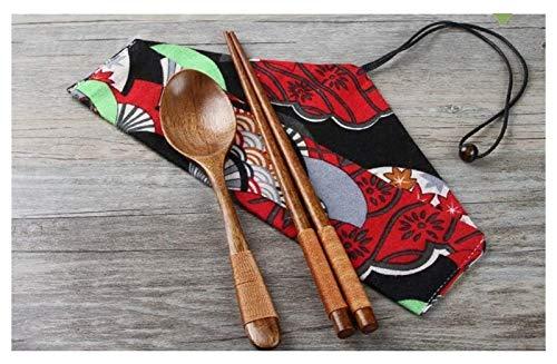 WANGQW Chopstick Reutilizable Set Lavavajillas-Caja fuert Chopsticks Conjunto de Tres Piezas con Palillos/Cuchara/Bolsa de Tela, Temperatura Antideslizante, sin Sabor, Restaurante