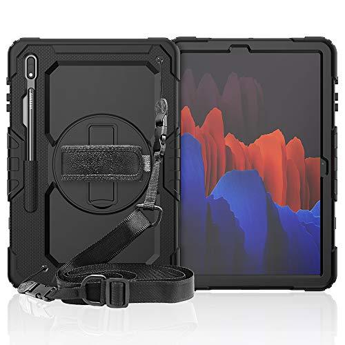 Lobwerk Funda 4 en 1 con correa de transporte para Samsung Galaxy Tab S7+ Plus Tab S T970 T975 de 12,4 pulgadas, carcasa exterior protectora + soporte negro
