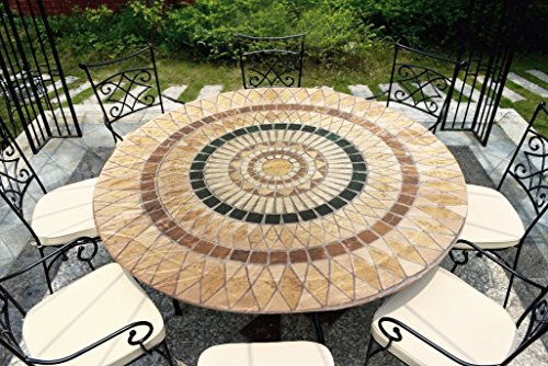 CTD Store Deluxe Fitted Elasticized Table Cover Fit up to44-48 Inches Diameter (Tuscan Mosaic)