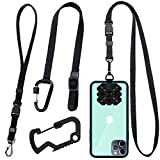 Phone Lanyard Strap,Neck Strap and Hand Wrist Tether Key Chain Holder Universal & Camera Safety Tether Strap for Camera & Phone Iphone Case Anchor, Smartphone Safety Tether System-Black