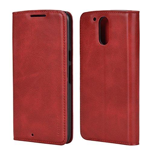 Mulbess Cover per Motorola Moto G4 Play, Custodia Pelle con Funzione Stand per Motorola Moto G4 Play [Slim Case], Vino Rosso