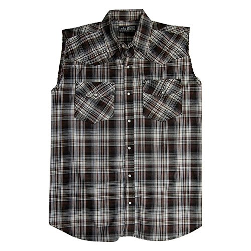 Men's Sleeveless Plaid Country Boy Shirt | Pearl Snap Front