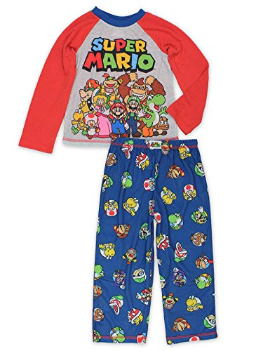 Super Mario Brothers Boys 2 Piece Long Sleeve Shirt and Pants Pajamas Set (Small / 6-7, Long Sleeve Red)