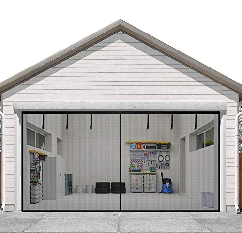Sunolga Garage Door Screen for 2 Car 16x7FT Garage Doors ,Reinforced Fiberglass Magnetic Screen Door with 36 High Energy Magnets and 6 Strapping Tapes - Fits Doors up to 16x7FT
