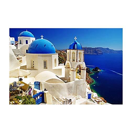 crjzty Kunst Leinwand Gemälde Griechisches Gebäude Santorini Cuadros Landschaft Poster und Drucke Home Decor Wandkunst Bilder 60x90cm