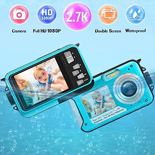 Unterwasserkamera wasserdichte 2.7K 1080P FHD 24 MP Unterwasser Camcorder Dual Screen Videokamera Digitalkamera Selfie