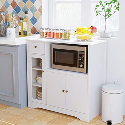 HOMECHOMicrowaveCabinet with Hutch,Kitchen Buffet Cabinet Sideboard with Adjustable Shelves and Drawer, Floor Standing Storage Cabinet for Dining Room, Living Room, White