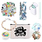 VSCO Girl Stuff - Flask Stickers, Reusable Straw & Teen Accessories Kit in a Cosmetic Bag