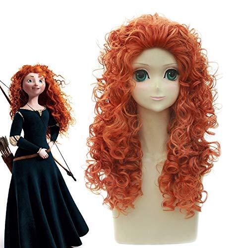 Brave Merida Cosplay peluca larga y rizada pelo de fibra resistente al calor Halloween mujeres Anime disfraz juego de rol pelucas Pl-828