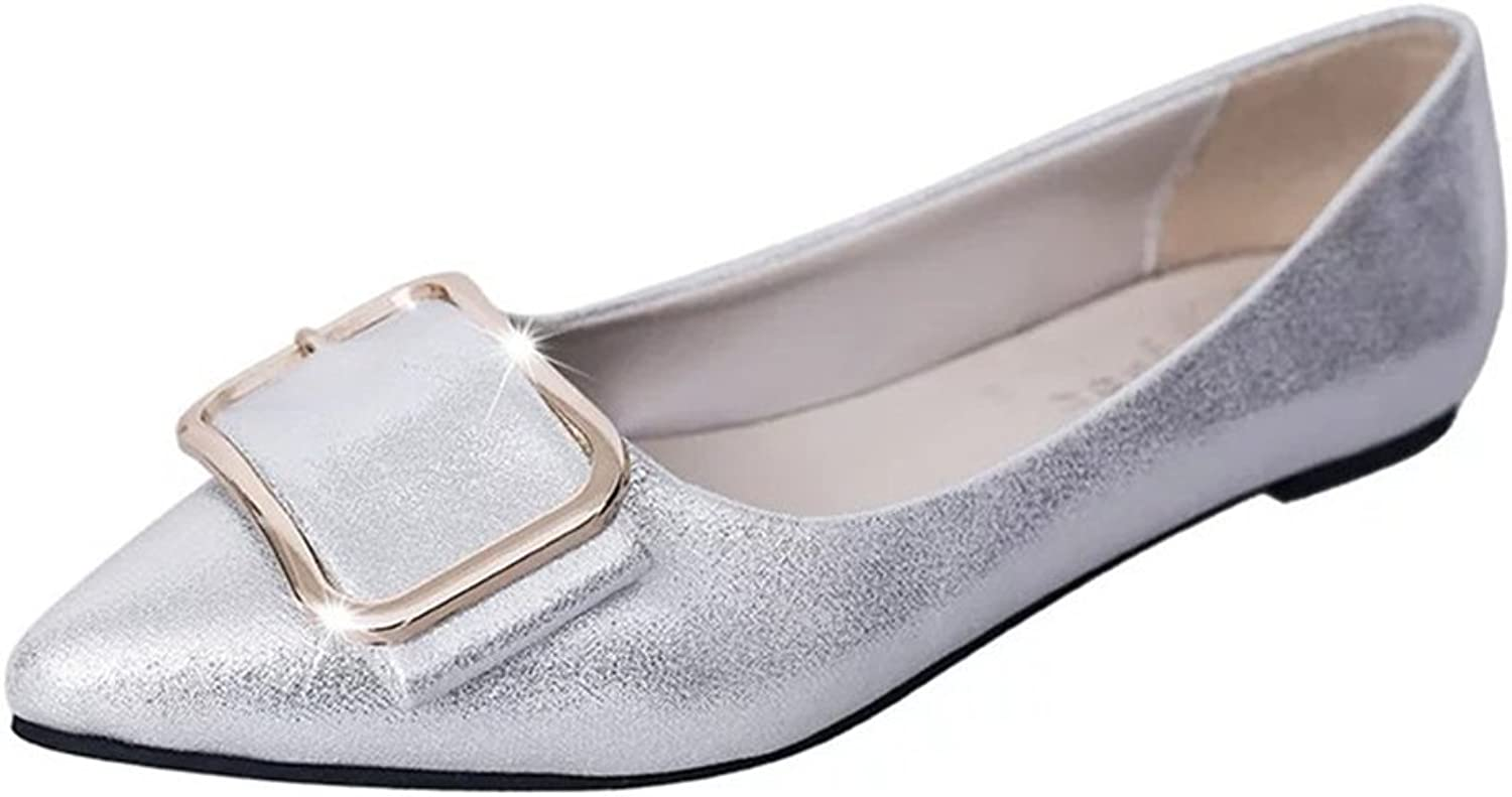 Xiaoyang Women's Glitter Casual Pointed Toe Ballet Comfort Soft Slip On Flats shoes