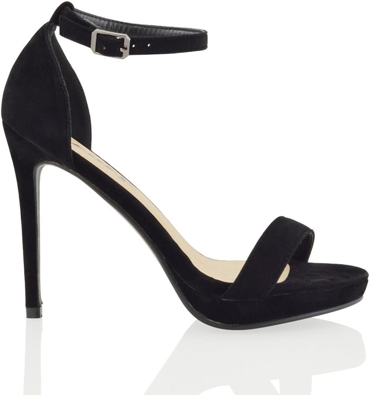 ESSEX GLAM Womens Platform High Heel Peep Toe Ankle Strap Sandals shoes